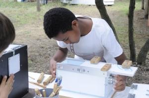 Uno de los participantes resolviendo una de las cajas problemas de los chimpancés