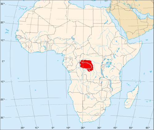 Foto1: Área de distribución del Bonobo en África