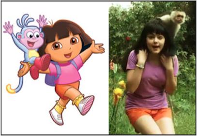 Figura1. La conocida caricatura Dora la Exploradora promoviendo la humanización de los primates y dónde en varios momentos de la historia el plátano es el alimento del monito